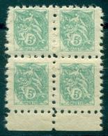 FRANCE Type Blanc N° 111 Bloc De 4 N Xx B De F POSTE ENFANTINE TB Et Rare . - Curiosities: 1900-20 Mint/hinged