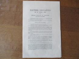 LANDRECIES LE 20 AVRIL 1902 REUNION ELECTORALE ELECTIONS LEGISLATIVES DU 27 AVRIL 1902 DISCOURS DE M.EVRARD ELIEZ....... - Historical Documents