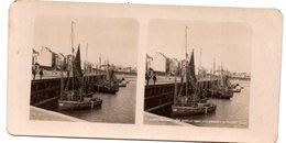 (photo ) Blankerberghe (Belgique)   : Stereophoto :le Port, Les Barques De Pêche (début XXe)  (PPP22247) - Stereoscopic
