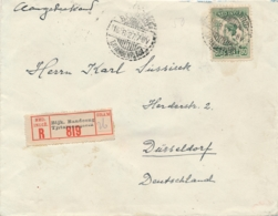 Nederlands Indië - 1927 - 50 Cent Wilhelmina Op R-cover LB Bandoeng/Tjitaroemplein Naar Düsseldorf / Deutschland - Niederländisch-Indien