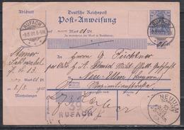 Dt.Reich Postanweisung A 14I über 1 Pf Von Rufach 9.8.00 Nach Neuulm , Rs K1 Hirzfelden Und Empfangsquittung - Allemagne