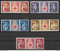 Croatia - Kroatien 1942 Complete Set MNH - Strip 2+1 - Croazia