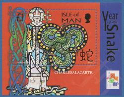 ISLE OF MAN 2001 YEAR OF THE SNAKE M.S. HONG KONG OPT.  S.G. MS 923  U.M. - Man (Ile De)