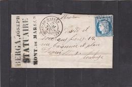 MONT-DE-MARSAN ( LANDES  ) GC 2413  -  LAC + CERES  N° 60A   Pour TOULOUSE  -  30 JUIL. 1874 - REF 13712 - Postmark Collection (Covers)