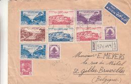 Liban - Lettre Recom De 1949 ° - Oblit Bikfaya - Exp Vers St Gilles - Avec Timbre Pour L'Armée Libanaise - Liban