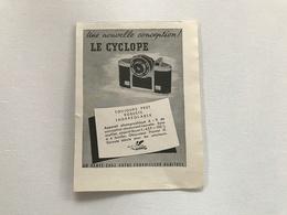 Pub Appareil Photo LE CYCLOPE - 1951 - Publicités