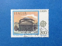 1978 ITALIA EUROPA CEPT PANTHEON ROMA 200 LIRE FRANCOBOLLO USATO ITALY STAMP USED - 6. 1946-.. Repubblica