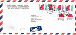 China Taiwan Taipei Air Mail Cover Sent To Sweden 13-8-1980 Topic Stamps FLAG - 1945-... Republic Of China