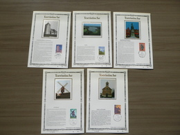 "BELG.1987 2254 2255 2256 2257 & 2258 FDC Filatelic Cards Zijde ,Ed.Lim.NL : "" TOERISTISCHE 1987 "" - FDC"
