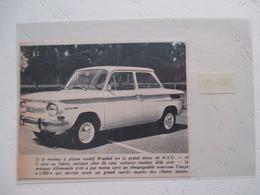 Automobile Allemande  NSU Coupé Prinz 1000 (Motorisation Wankel)   - Coupure De Presse Non Datée - Voitures