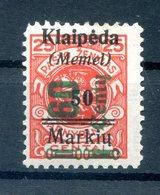 Memel 233III GUTER TYPE * MH BPP 80EUR (H0858 - Memel (Klaïpeda)