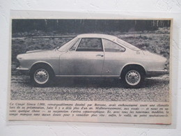 Automobile Simca 1000 Coupé Bertone  - Coupure De Presse Non Datée - Voitures