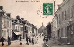 CPA, Airaines, Rue De L'Eglise Place Animée, Recette Buraliste - France