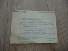 Annecy Jeunesses Patriotiques 1935 Invitation Conférence 12/02/1935 Par René Richard - Documents Historiques