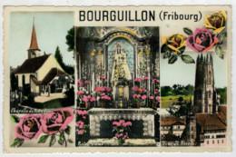 C.P.  PICCOLA   BOURGUILLON (FRIBOURG)  CHAPELLE  DE NOTRE DAME   TOUR ST. NICOLAS     2 SCAN    (VIAGGIATA) - FR Fribourg