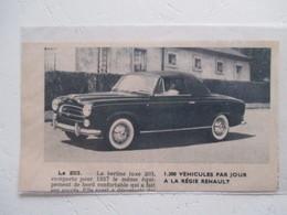 Voiture Nouvelle Peugeot 203 Coupé Cabriolet  - Coupure De Presse 1956 - Voitures