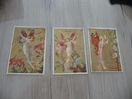3 Chromo  Pub Publicitaire Au Bon Marché Besançon Femme Arts Nouveaux Papillons Butterfly - Au Bon Marché