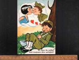 """Militaria Humoristique Humour Militaire : Soldat Rêveur Amour """" Le Rêve Du Soldat Doit Toujours être Satisfait """" - Humoristiques"""