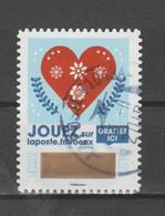 """FRANCE / 2018 / Y&T N° AA 1643 : """"Vœux à Gratter"""" (Cœur Rouge Sur Fond Bleu) - Oblitéré 2019 11 (peu Lisible) - France"""