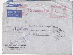 INDES NEERLANDAISES 1949 PLI AERIEN EMA DE BATAVIA - Indes Néerlandaises