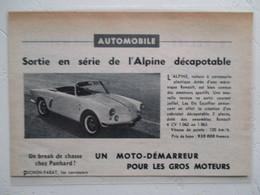 Voiture Future  Alpine Renault  4 CV 1062 /63  Cabriolet - Prototype Ets Escoffier - Coupure De Presse De 19507 - Voitures