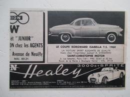 Automobile Coupé Borgward Isabella TS Agent à Paris &  Healey SPRITE Agent à Neuilly  - Coupure De Presse De 1960 - Voitures