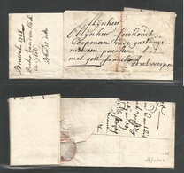 """BELGIUM. 1705 (6 Sept) Brussel - Antwerpen. Stampless EL Full Contains, Mns Francko + """"1"""" Charge. Displays Excellent. Re - Ohne Zuordnung"""