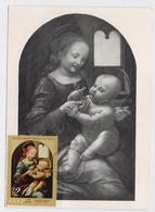 CARTE MAXIMUM CM Card USSR RUSSIA Art Painting Leonardo Da Vinci Italy Madonna Benua Child - Tarjetas Máxima
