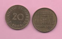 SAARLAND - 20 Franken 1954 - [ 8] Saarland - Sarre