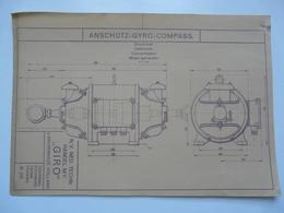 VIEUX PAPIERS - PLANCHE : ANSCHÜTZ - GYRO-COMPASS - Compas Gyroscopique - Sous-marin - Máquinas