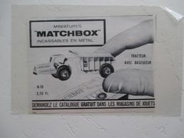 Engin De Carrière MATCHBOX  Miniature Incassable En Métal -  Coupure  De Presse De 1963 - Magazines