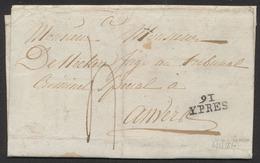 Précurseur - LAC Datée De Messines (1810) + Obl Linéaire 91 / YPRES Et Port De 4 Décimes > Anvers. - 1794-1814 (Période Française)