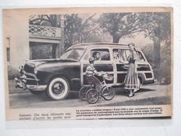 """USA Automobile Américaine - Nouvelle FORD """"Station Wagon""""  Acier Et Bois  -  Coupure De Presse De 1948 - Voitures"""