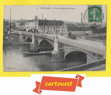 CPA  COMPIÈGNE 60  ♥️♥️☺♦  1911 Le Pont Et L'Hôtel De Flandre ֎ Sport NAUTIQUE COMPIEGNE - GUEPE 37 Fluvial - Compiegne