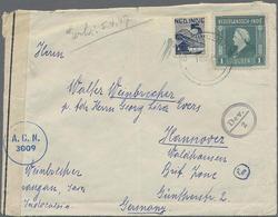 1947, 4 Verschiedene LP-Briefe Aus Niederländ.Indien Mit Interessanten Zensurstempeln Und -Verschlußstreifen Nach Hannov - Niederländisch-Indien