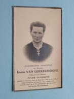 DP Louise VAN QUEKELBERGHE ( Jules Goossens ) Kaprijke 16 Dec 1888 - St. Laureins 5 Maart 1947 ( Zie Foto's ) ! - Todesanzeige