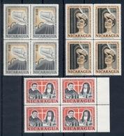 NICARAGUA * 1963 * Complete Set 3 Stamps In Blocks Of 4 * MNH** St Vincent De Paul & St Louise De Marillac-Mi.No 1328-30 - Nicaragua