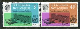 St Kitts, Nevis & Anguilla 1966 Inauguration Of WHO Headquarters Set MNH (SG 161-162) - St.Christopher-Nevis-Anguilla (...-1980)