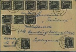 1948, Fernbrief Ab NEUMÜNSTER Mit 12-mal 2 Pfg. Arbeiter - Zone AAS