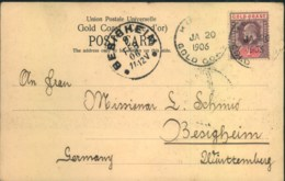"""1906, Ppc; Kumasi, Gold-Coast - """"The Fort View From South"""" Sent To BESIIGHEIM, Württemberg - Costa D'Oro (...-1957)"""