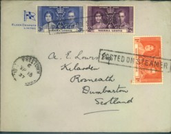 """1937, Coronation Isuue Complete On Ship Letter """"POSTED ON STEAMER"""" - Sierra Leone (...-1960)"""