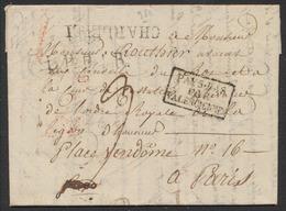 """Précurseur - LAC Datée De Aiseau (1823) + Obl Linéaire CHARLEROI Et Encadré Noir """"Pays-Bas Par Valenciennes"""" > Paris - 1815-1830 (Période Hollandaise)"""
