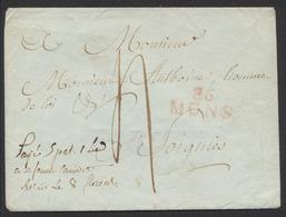 """Précurseur - Enveloppe Sans Contenu + Obl Linéaire Rouge 86 / MONS (type 5) > Soignies. Note Manuscrite """"Payé..."""" - 1794-1814 (Période Française)"""