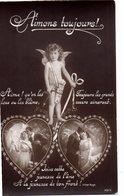 CPA - Couple 2 Coeurs Et Cupidon- Neuve - Coppie