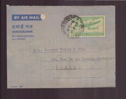 Inde, Aérogramme Du 19 Février 1962 De Bombay Pour Paris - Lettres & Documents