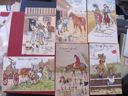 Lot De 12 CPA - Illustrateur : O. ANDERS - CHEVAUX - CHIENS - CHASSE A COURRE ... - Other Illustrators