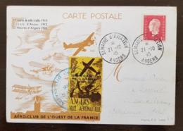 FRANCE  Semaine D'aviation ANGERS VILLE AERONAUTIQUE 21/10/1945  Vignette De L'AERO-CLUB De L'OUEST DE LA FRANCE . RARE - Marcophilie (Lettres)