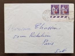 FRANCE  Yvert N°478 X 2 Coin Daté Sur Lettre. Cachet  Paris Hotel De Ville 1941 - France