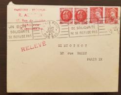 FRANCE  Yvert N°506 X2+547x2. Cachet Paris. 20/07/43. Griffe RELEVE (un Bon De Solidarite Ne Se Refuse Pas) - France