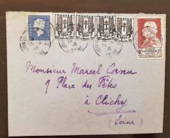 FRANCE Yvert N°670 X4+686+748. Cachet Joinville. 15/06/46. Affranchissement Composé - France